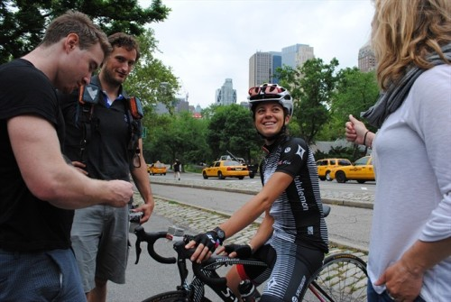 """And chatting with team manager Kristy Scrymgeour."" - via Behind the Scenes: Evelyn Stevens in Central Park - Cycling Slideshows 