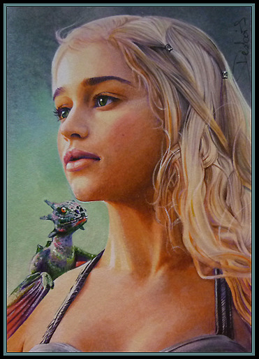 'A Dragon In Exile' 2.5*3.5 inch artwork on a sketch card watercolor blended in marker/multiliner/opaque white http://www.facebook.com/david.desbois.art http://daviddeb.deviantart.com/