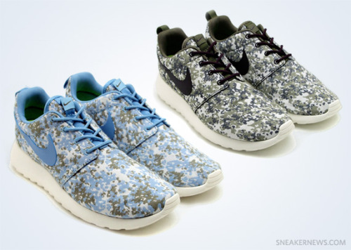 Nike WMNS Roshe Run - Camo Pack the New Roshe has given us some really nice colourways on a practical running shoe.  these two colourways are for the ladies, coming in Blue or Olive camo uppers.  the camo almost has a flowery pattern to it, making these really interesting. click here for more pics Related articles Nike WMNS Roshe Run 'Tropical Twist' (sneakernews.com)