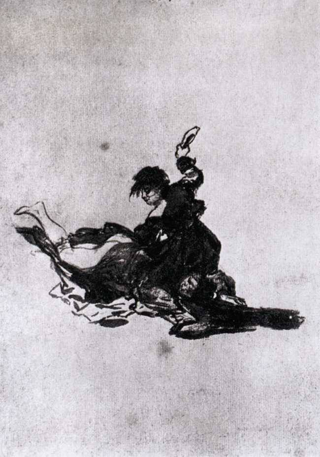 Francisco de Goya, Woman Hitting Another Woman with a Shoe (Mujer golpea a otra mujer con un zapato), c. 1812-1823. Sepia wash on paper, 20.5 x 14.1 cm. Museum Boijmans van Beuningen, Rotterdam.
