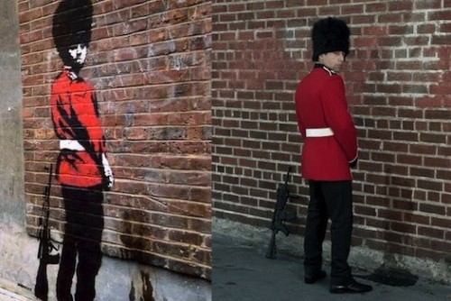 "Banksy's most iconic images replicated using real life models.   I'm a huge Banksy fan and love Nick Stern's series, ""You Are Not Banksy,"" which captures models mimicking poses of some of his most well-known stencils."