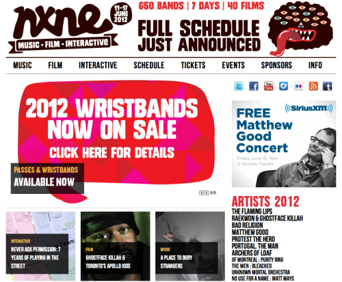NXNE Join me in Toronto for this year's NXNE! If you ping me on Twitter, I'll send a discount code your way for 15% off.  NXNE schedule, presenters, etc.