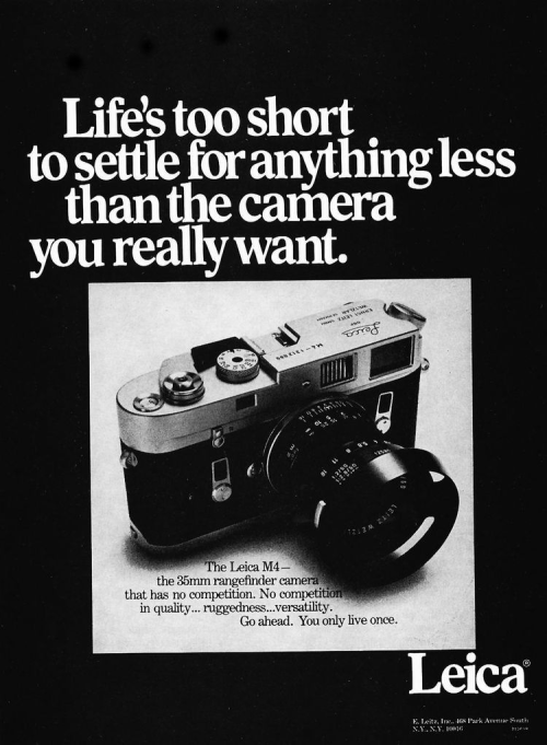 fromand:  leica ad: life's too short [december 1969, modern photography]