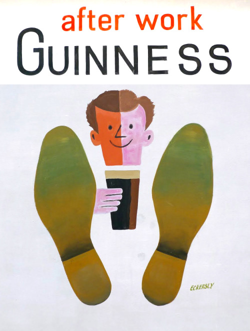 """After Work Guinness"" poster by legendary graphic designer and teacher Tom Eckersley. More on Eckersley here.  Eckersley-Lombers posters were both aesthetic and functional, thereby perfectly fulfilling advertisers' criteria. Eckersley-Lombers always supplied full size artwork with hand drawn lettering for their poster designs."