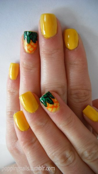 poppingnails:  I did my friend's nails before she went on holiday with summer pineapples :)