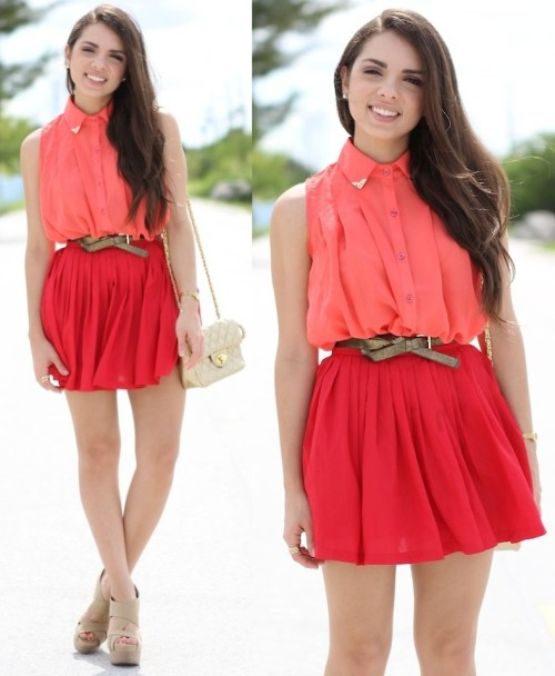 lookbookdotnu:  Tangerine and red! (by Daniela Ramirez)