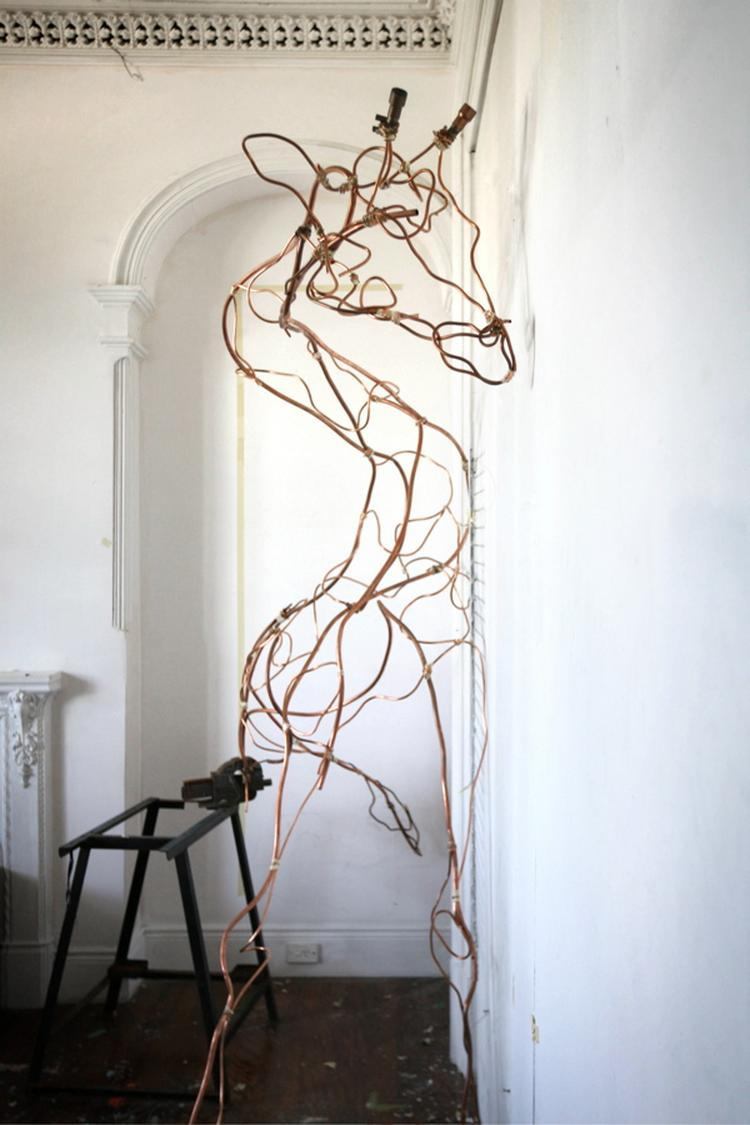Giraffe by Anna-Wili Highfield. 2007 2m x 1.3m x 90cm copper pipe, masking tape, copper wire