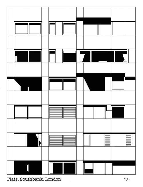Southbank Flats, London. Pen and Ink, Digital.
