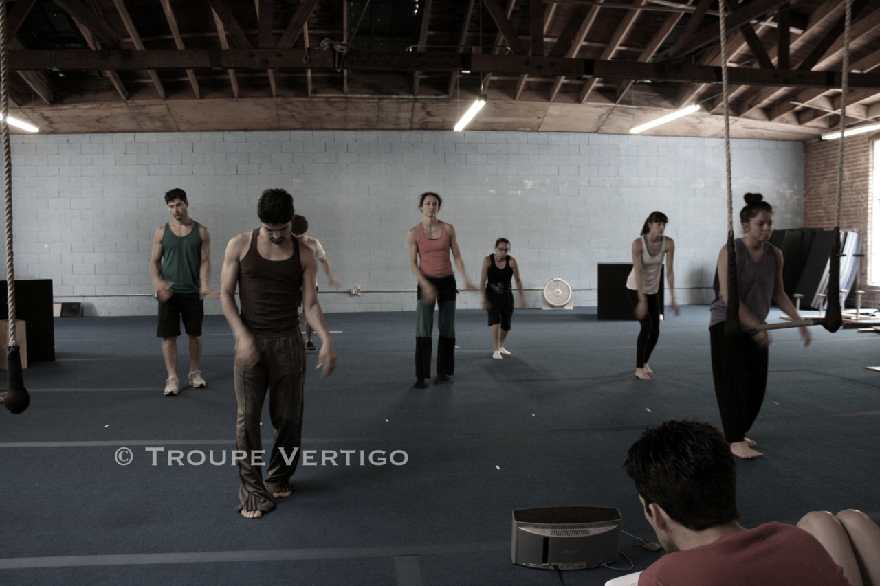 Rehearsing a dance number, led by Raul Machorro for Nighthawks at Cirque School Los Angeles. Photo by Kat Purgal