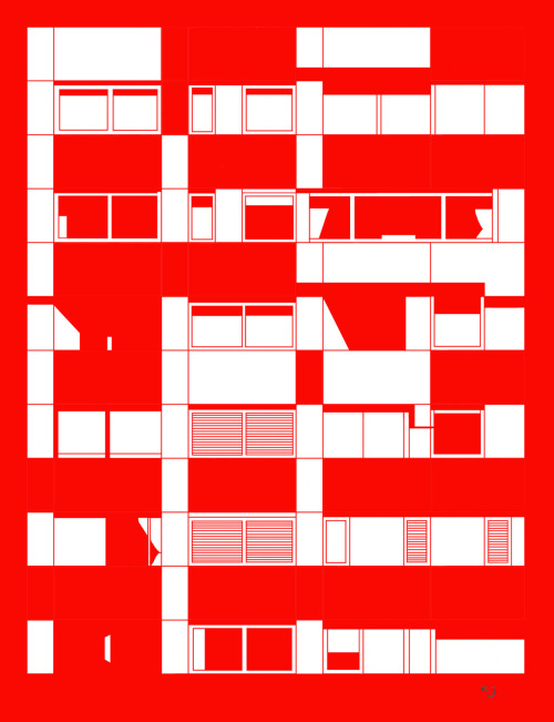 Southbank Flats, red. Pen and ink. Digital drawing.