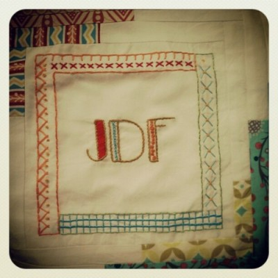 Monogram quilt block. (Taken with instagram)