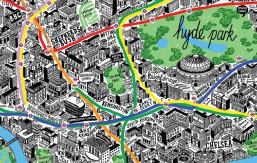 laughingsquid:  Incredibly Detailed Hand Drawn Map of London  Whoa.