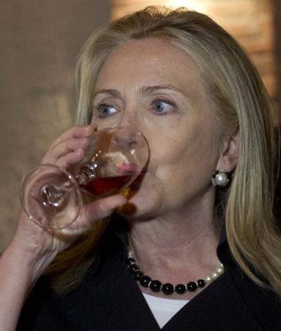 Swillary! US Secretary of State Hillary Rodham Clinton samples wine in a wine cellar prior to dinner at Adjarian Wine House in Batumi, Georgia, Tuesday, June 5, 2012. (AP Photo/Saul Loeb, Pool)