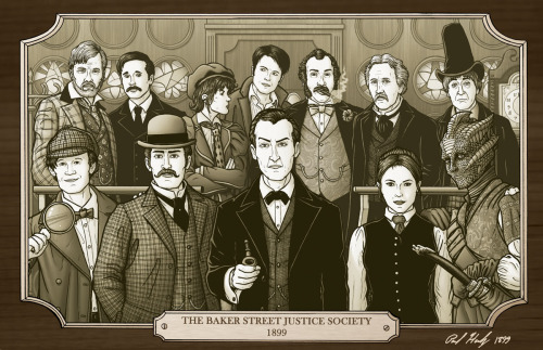 gallifreygal:  pauljhanley:  Holmes meets Who, Alan Moore style… The Baker Street Justice Society by *PaulHanley  I'm dying over the perfection of this. Dying.  yesgood