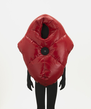 Ralph Borland. Suited for Subversion. 2002. Nylon-reinforced PVC, padding, speaker, and pulse reader. Via MoMA.