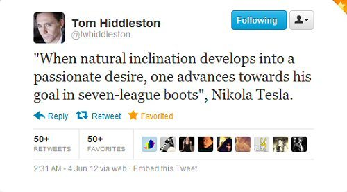 ivebeenloki-d:  Tom Hiddleston quoting Nikola Tesla on Twitter. MY DAY = MADE