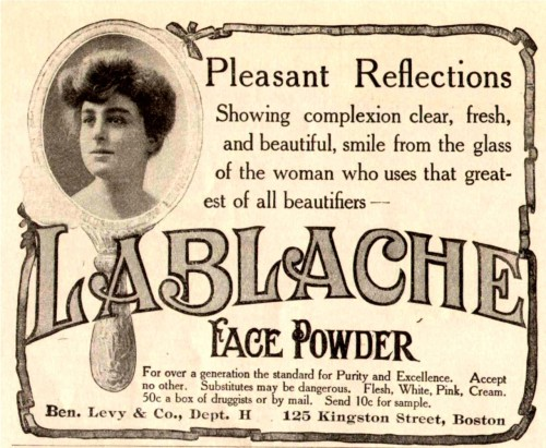 La Blanche face powder, advertisemtn from the Delineator Magazine, June 1905
