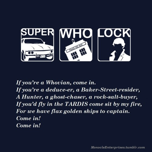"monocleenterprises:  Based on Shel Silverstein's ""Come In!"" SuperWhoLock background by ~Bionic-Heart on deviantART"