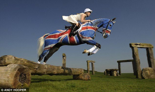 darkduet:  live-love-jump:  i-ride-for-the-blue:  Great Britain event rider, Lauren Collett and Natterjack get in the Jubilee spirit at Barbary Castle Estate. Yes, this is real.  and her eq<3  this is AWESOME