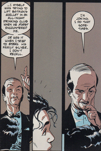 bucketofcomicfeels:  [Legend of the Dark Knight #100] Alfred can make a joke! My mind has been blown!