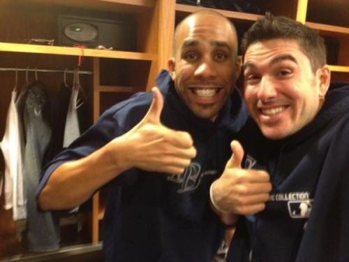 "raysbabyrays:   ""@sweetswingin20Me and David outside the fancave… The guys thought the thumbs up with Curtis was funny. He did it the pic before!"""