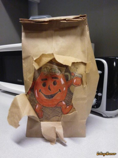 Kool Aid Man Bursts through Lunch Bag Lunch? Oh yeaaaaah!