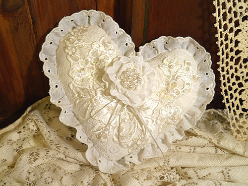 Victorian Heart Shaped Vintage Ring Bearer Wedding Pillow, handmade of vintage fabrics and lace.