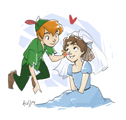 wonderfulworldofme:  In honor of Andrew and Hali's wedding :3 Peter and Wendy turned out just fine!  <3