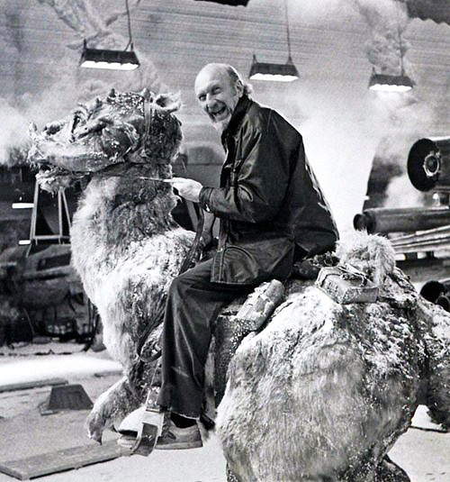 Irvin Kershner riding a Tauntaun on the set of Star Wars: Episode V - The Empire Strikes Back (1980)