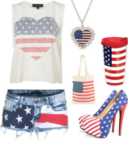 USA by shilky featuring short shortsCrop top, $28Short shorts, €149AX Paris high heel shoes, £39American Apparel tote handbag, $161928 jewelry, $28Flag USA, $15