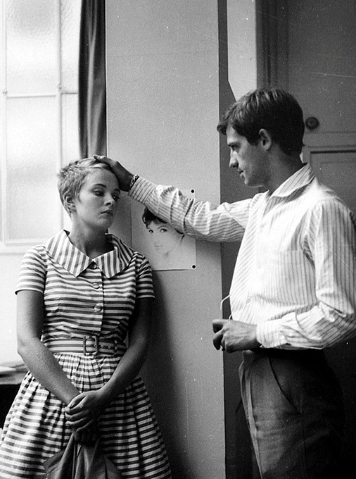 "Jean-Paul Belmondo and Jean Seberg on the set of ""À bout de souffle"" photographed by Raymond Cauchetier"