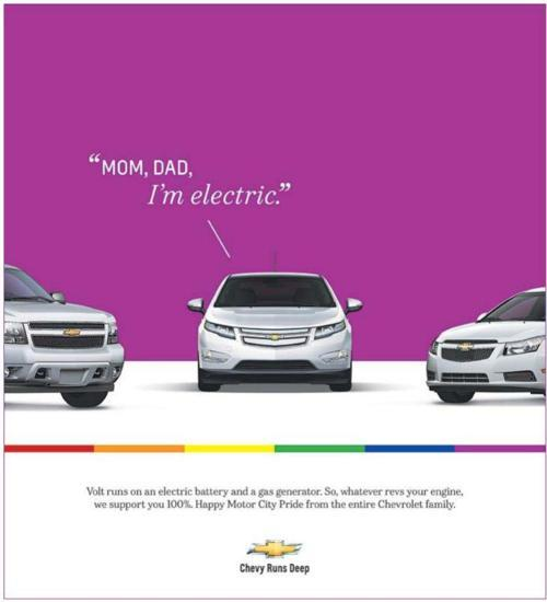 "huffpostgayvoices:  It looks like the Chevrolet Volt has officially ""come out"" — and just in time for Motor City Pride."