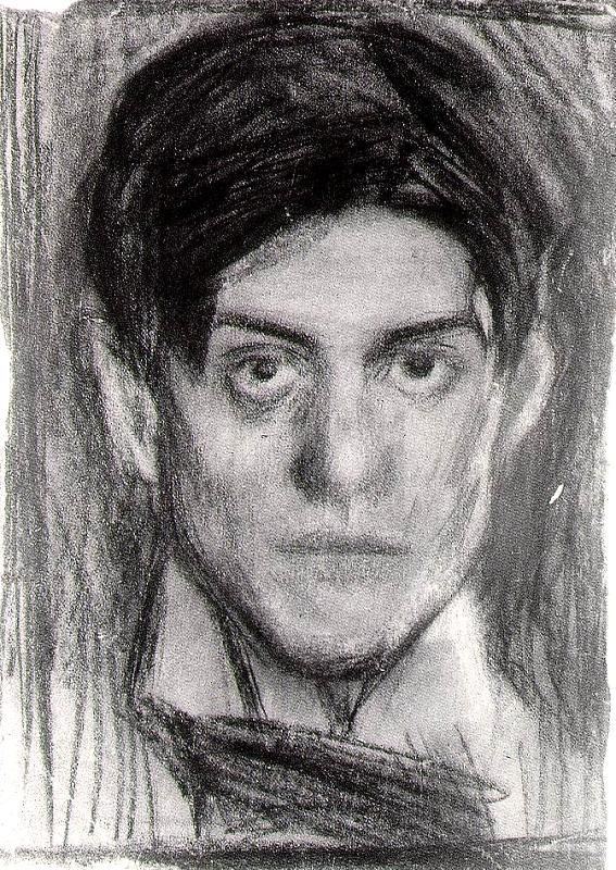 Self Portrait, Picasso, 1899-1900, charcoal on paper, Barcelona Museo Picasso