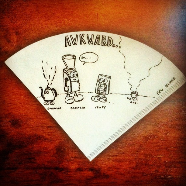 The awkward relationship between a grinder and coffee beans. #coffee #doodle #cartoon (Taken with instagram)