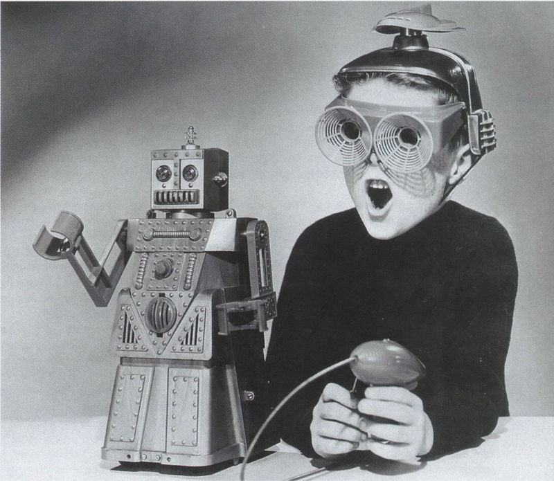 themafucage2:  Boy with Toy Robot 1950s