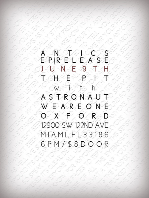 i'll be playing a show with Oxford this saturday, june 9th at the pit for Antics EP Release Party! also saturday, june 23rd @ uncle lou's in orlando with Bellows, Van Gogh Sky, and Montana! come bbz~