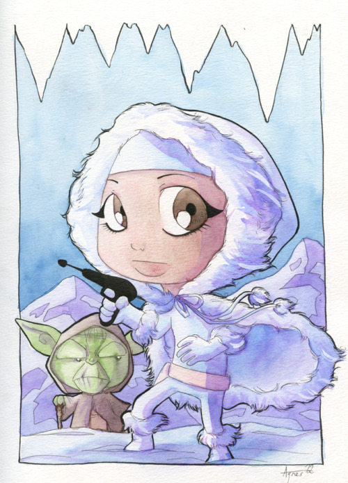 Padme with Yoda! I keep forgetting to post this piece. It was done for the same Star Wars Day event as my Han Solo with Chewbacca piece back about a month ago. This Padme with Yoda piece has a special home with a very special young girl. I was honoured to draw this piece for her. I hope everyone enjoys it as well!