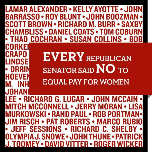 reagan-was-a-horrible-president:  teamobama:  EVERY Republican senator has voted to block the Paycheck Fairness Act, a bill that would help make sure women get equal pay for equal work. Mitt Romney also refuses to take a position on this issue.  Recall All Republicans 2012.