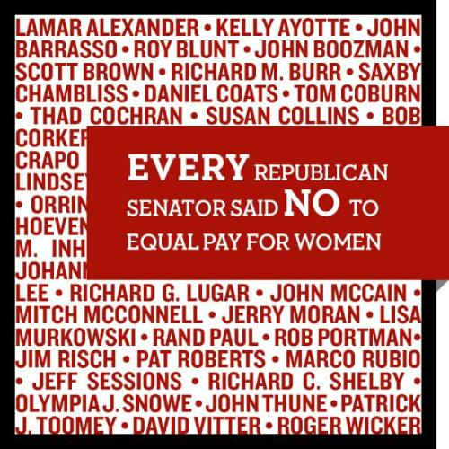 reagan-was-a-horrible-president:  teamobama:  EVERY Republican senator has voted to block the Paycheck Fairness Act, a bill that would help make sure women get equal pay for equal work. Mitt Romney also refuses to take a position on this issue.  Recall All Republicans 2012.  EVERY Republican. Let's have a serious discussion about the war on women. We're not done fighting.