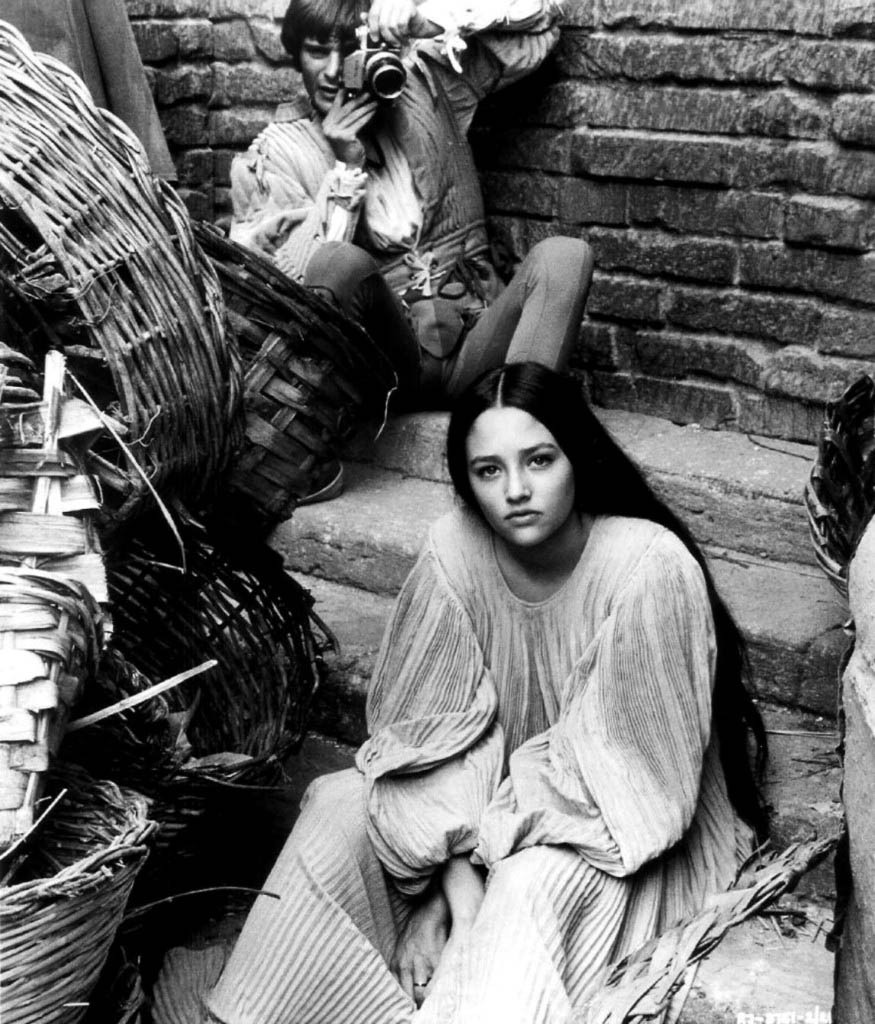 Leonard Whiting and Olivia Hussey on the set of Franco Zeffirelli's Romeo and Juliet, 1968. [x]