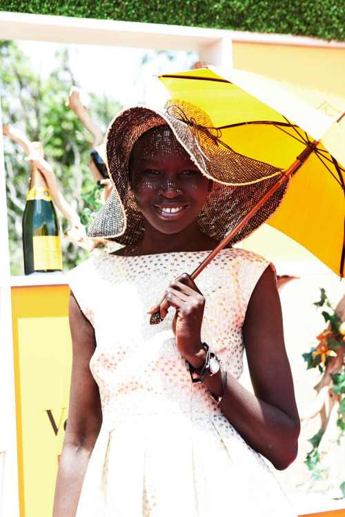 vogue:  STREET STYLE: Alek Wek at Veuve Clicquot's Fifth Annual Polo Classic