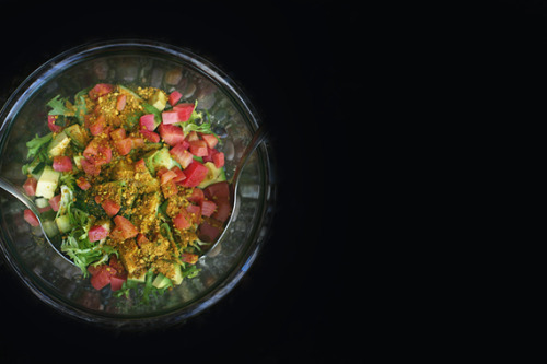 (via It's jewelry, for food.)  Beet and Frisee Salad with Ripe Smoky Pistachio Dust