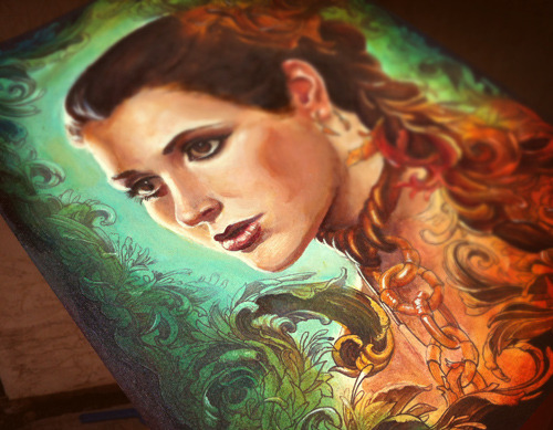 ncwinters:  More progress on Leia commission.Chaining the Lady, ink and acrylic on paper.   I wish I had commissioned this. Loving this painting and watching it progress over the weeks! Keep up the amazing work ncwinters!