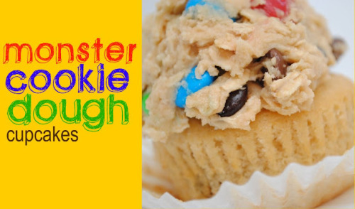 One Bowl Monster Cookie Dough Cupcakes  http://www.somethingswanky.com/2012/01/quadruple-serving-monster-cookie-dough.html