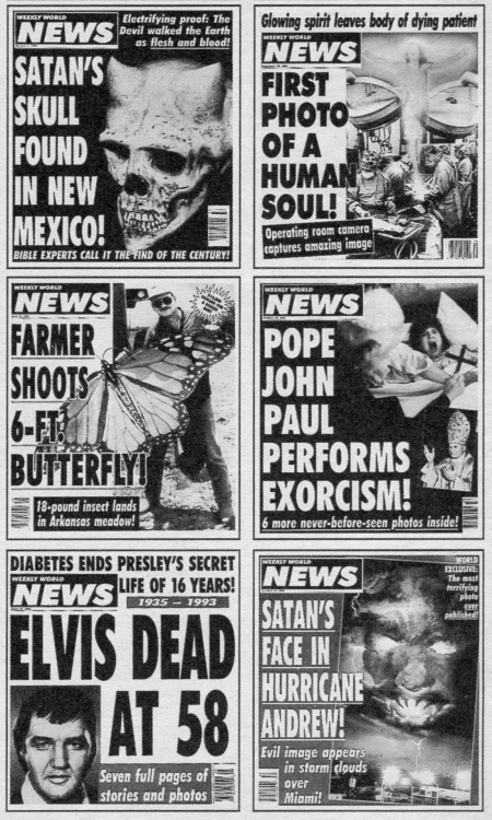VINTAGE Weekly World News covers, circa 1994