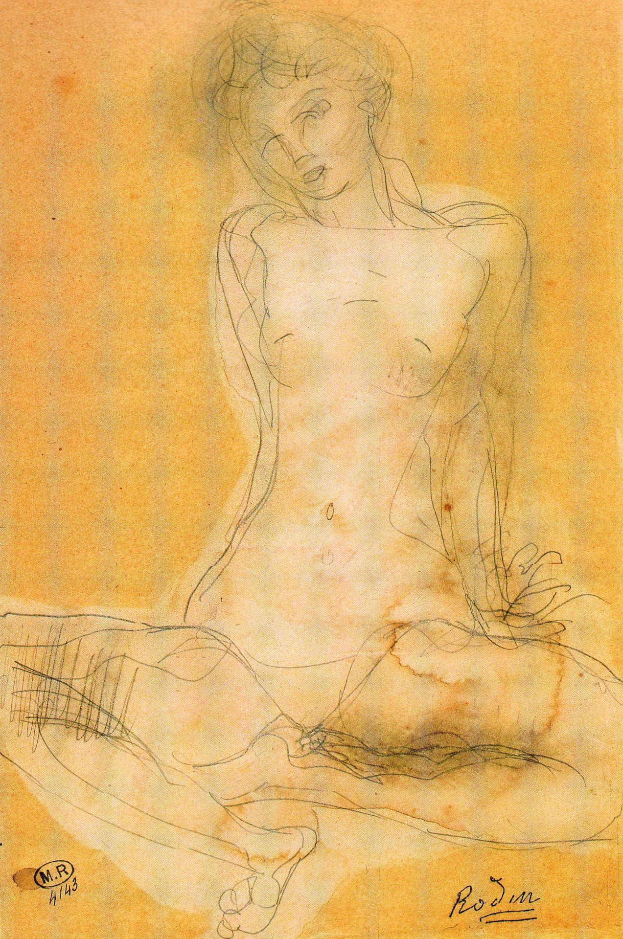 Auguste Rodin, Seated Woman, Watercolour and Stump, Musee Rodin, Paris