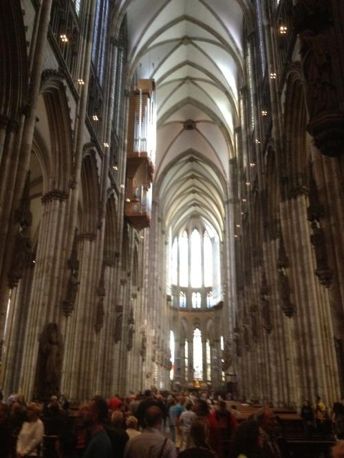 The interior of Cologne Cathedral. Suffered a lot of damage during WW2 and undergoes close to constant renovation.  Still absolutely beautiful though.