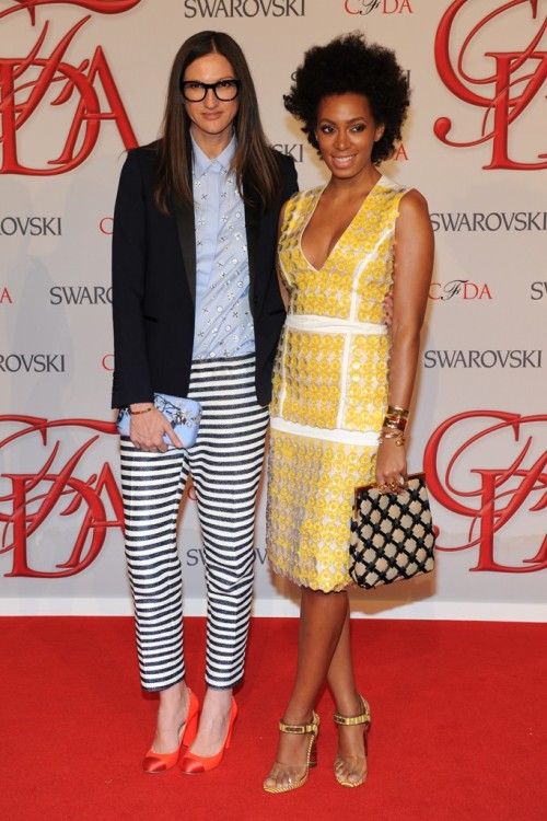 the Red Carpet at CFDA Awards Jenna Lyons and Solange Knowles Photo by KSW