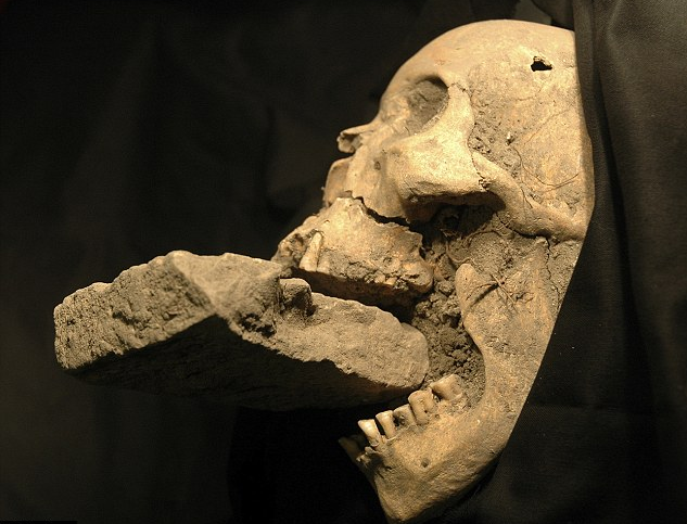 The remains of a female 'vampire' from 16th-century Venice, buried with a brick in her mouth to prevent her feasting on plague victims