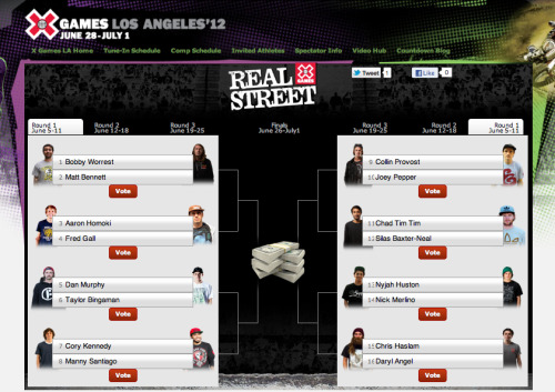 X Games LA 2012 Real Street is live! Sixteen of the best street skaters battle it out via video parts for X Games gold. Start watching and start voting.